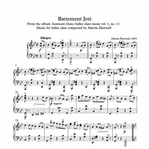 battement jete sheet music for ballet class by martin akerwall