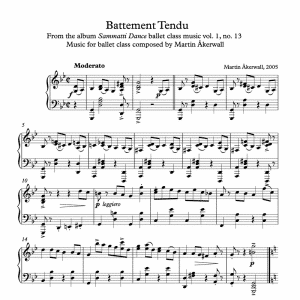 battement tendu sheet music for ballet class by martin akerwall