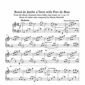rond de jambe a terre with port de bras sheet music for ballet class by martin akerwall