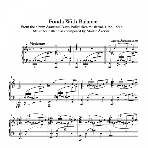 fondu with balance sheet music for ballet class by martin akerwall