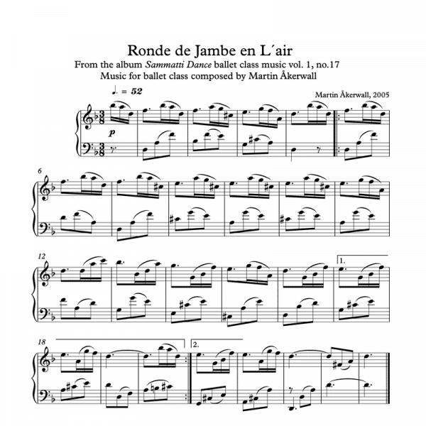 rond de jambe en lair sheet music for ballet class by martin akerwall