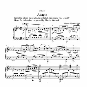 adagio sheet music for ballet class by martin akerwall