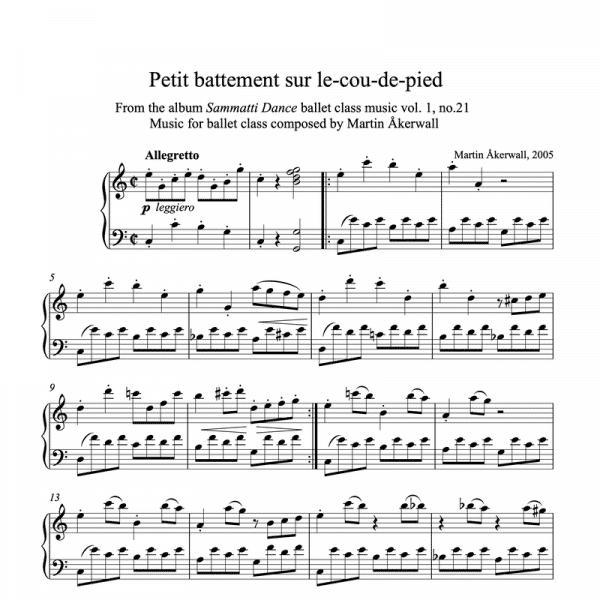 petit battement sur le cou de pied sheet music for ballet class by martin akerwall