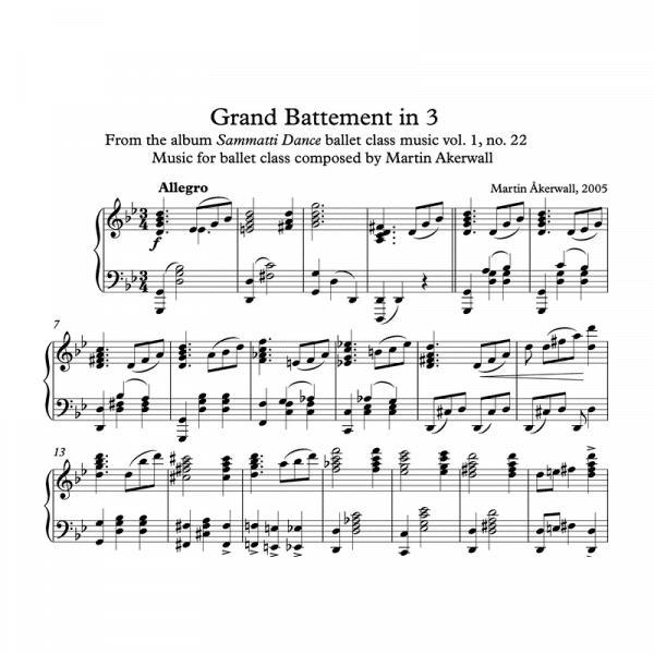 grand battement in 3 sheet music for ballet class by martin akerwall