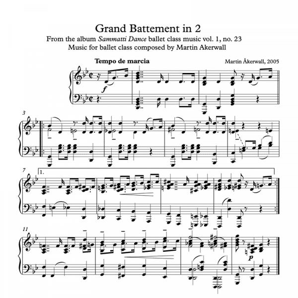grand battement in 2 sheet music for ballet class by martin akerwall