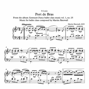 port de bras sheet music for ballet class by martin akerwall