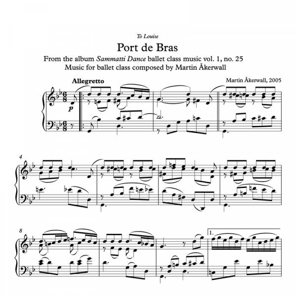 port de bras sheet music for ballet class by martin akerwall