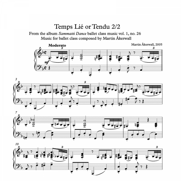temps lie or tendu sheet music for ballet class by martin akerwall