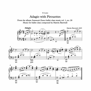 adagio with pirouettes sheet music for ballet class by martin akerwall