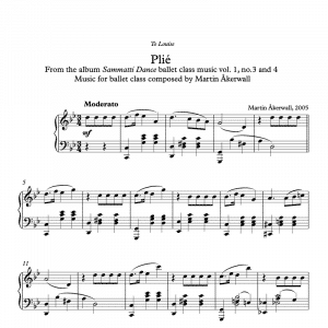 plie sheet music for ballet class by martin akerwall