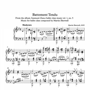 sheet music for ballet class by martin akerwall