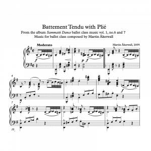 battement tendu with pli sheet music for ballet class by martin akerwall