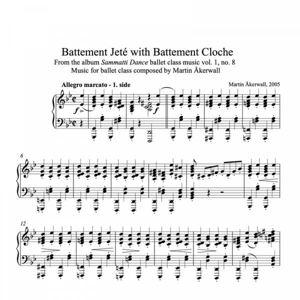 battement jete with battement cloche sheet music for ballet class by martin akerwall