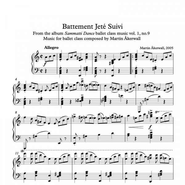 battement jete suivi sheet music for ballet class by martin akerwall