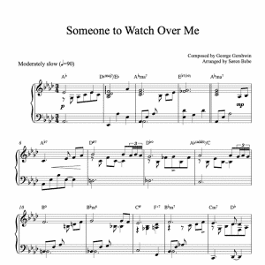 piano sheet music for someone to watch over me by george gershwin
