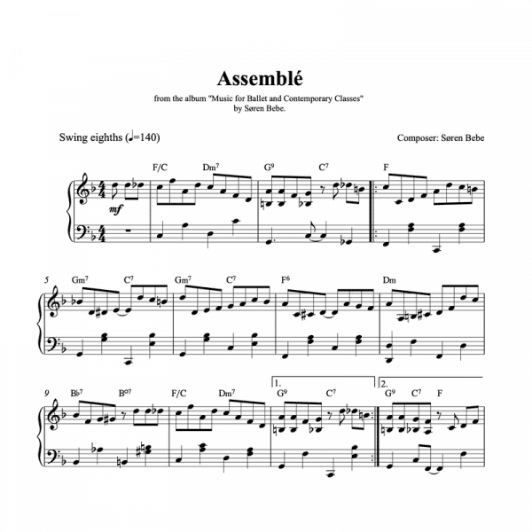 assemble piano sheet music for ballet class pdf