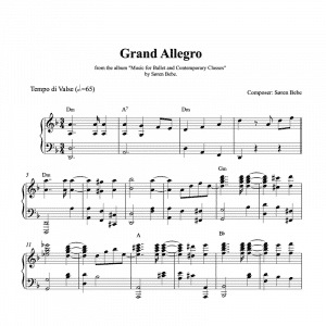 ballet class piano sheet music for a grand allegro by søren bebe