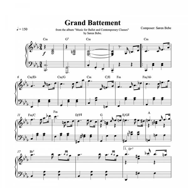 ballet class sheet music for grand battement