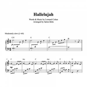 piano sheet music for leonard cohens hallelujah