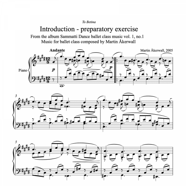 introduction preparatory exercise sheet music for ballet class by martin akerwall