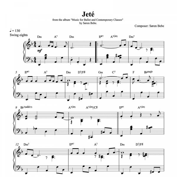 ballet class jeté piano sheet music pdf