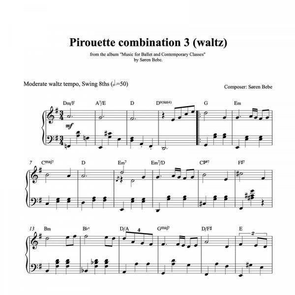 piano score for a pirouette waltz