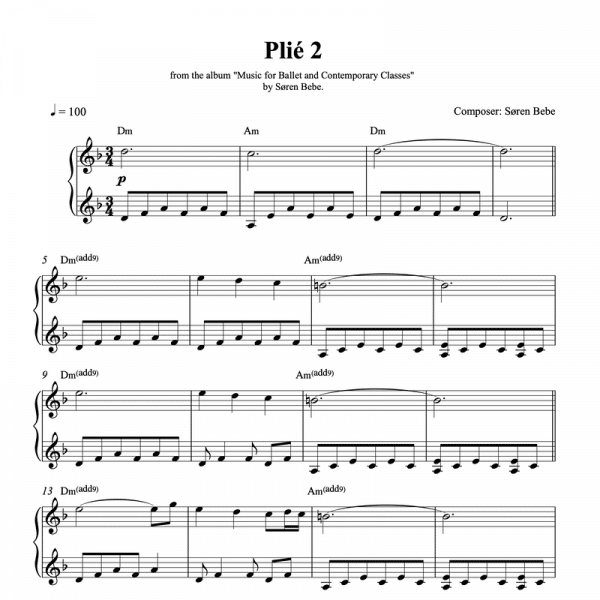 ballet class sheet music for plié