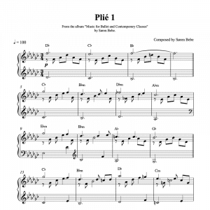 piano sheet music for a plié ballet class exercise by composer søren bebe