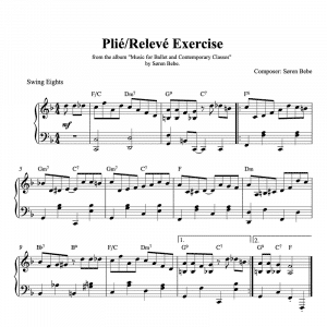 piano sheet music for a plie releve ballet class exercise