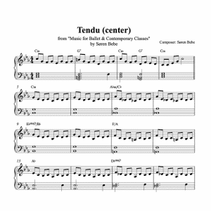 sheet music for a bach inspired tendu for ballet class