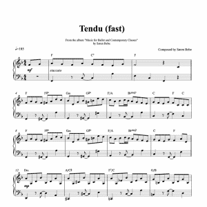 ballet class sheet music for a fast tendu exercise composed by soren bebe