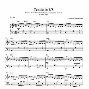 piano score for a tendu in 6/8 for ballet class