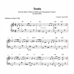 ballet class piano sheet music for a tendu exercise