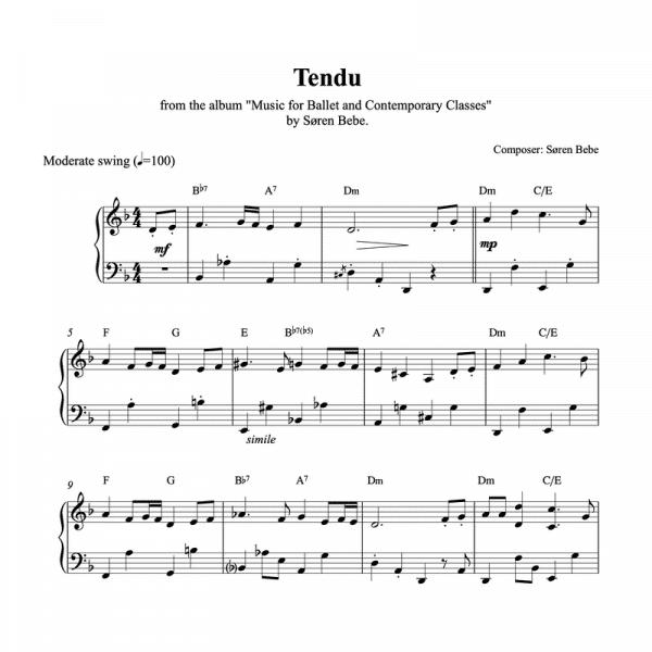 ballet class piano sheet music for a tendu exercise