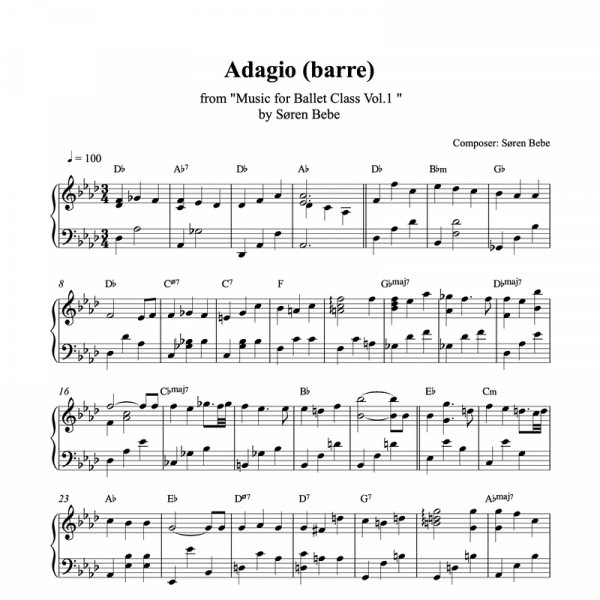 adagio barre piano sheet music for ballet class from music for ballet class vol.2 by soren bebe
