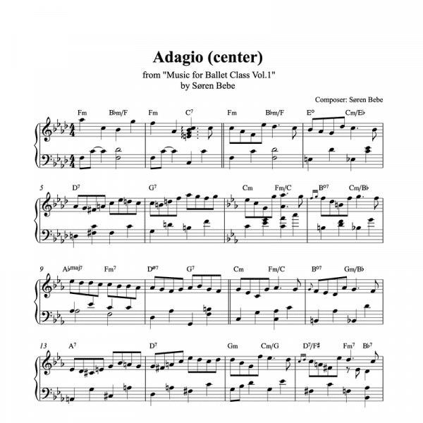 adagio center piano sheet music for ballet class from music for ballet class vol.2 by soren bebe
