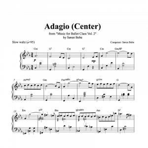 adagio center piano sheet music for music for ballet class vol.2 by soren bebe