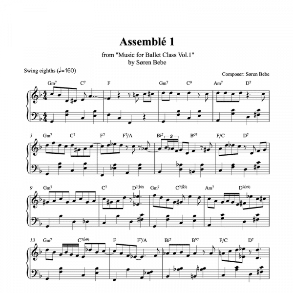 assemble piano sheet music for ballet class from music for ballet class vol.2 by soren bebe