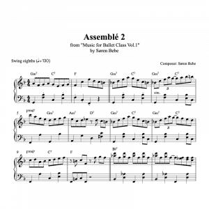 assemble 2 piano sheet music for ballet class from music for ballet class vol.2 by soren bebe