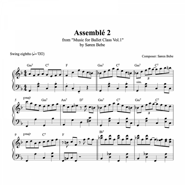 assemble 2 piano sheet music for ballet class from music for ballet class vol.2 by soren bebe