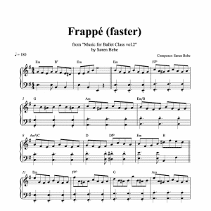 piano sheet music for a fast frappe ballet class exercise