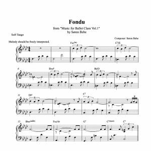 fondu piano sheet music for ballet class from music for ballet class vol.2 by soren bebe