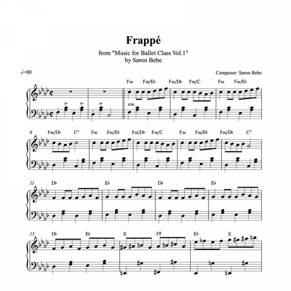 fast frappe piano sheet music for ballet class from music for ballet class vol.2 by soren bebe