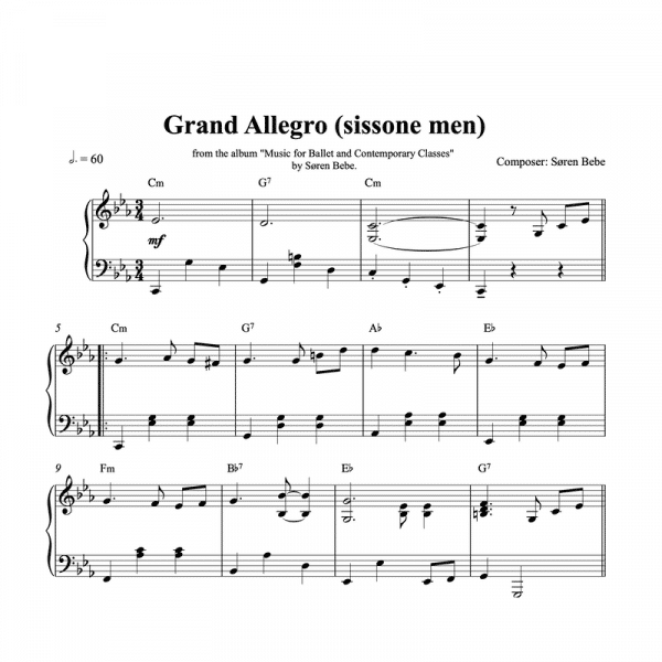 piano sheet music for grand allegros or sissonne exercises in ballet class