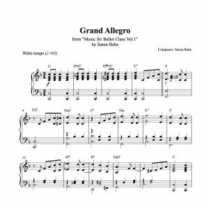 grand allegro piano sheet music for ballet class from music for ballet class vol.2 by soren bebe