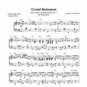 grand battement piano sheet music for ballet class from music for ballet class vol.2 by soren bebe