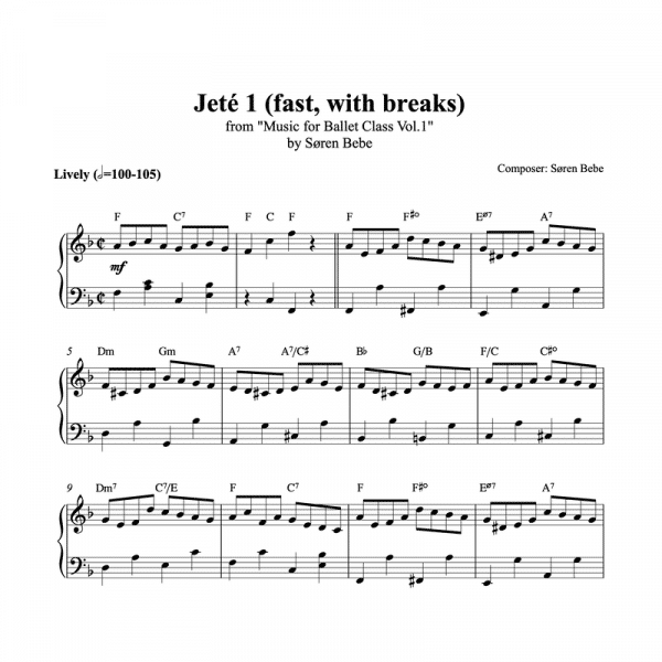 fast jeté with breaks piano sheet music for ballet class