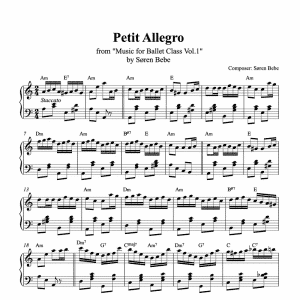 petit allegro piano sheet music for ballet class from music for ballet class vol.2 by soren bebe