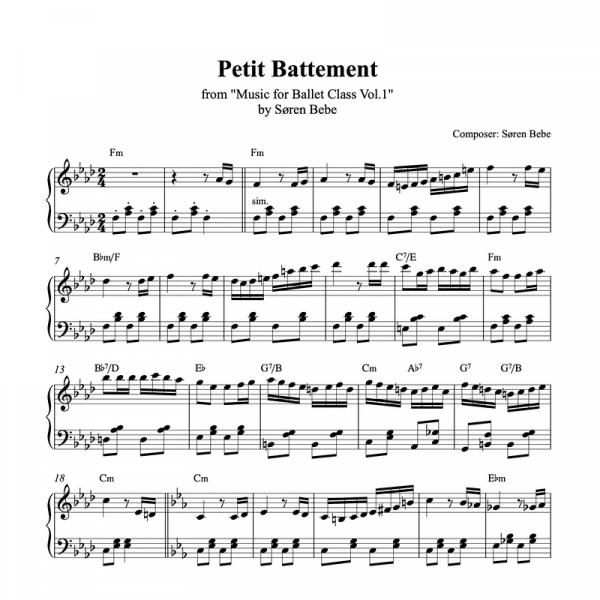 petit battement piano sheet music for ballet class from music for ballet class vol.2 by soren bebe