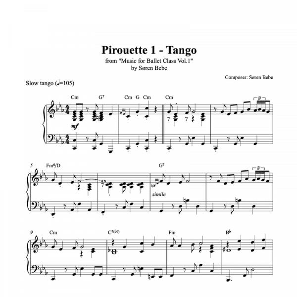 pirouette tango piano sheet music for ballet class from music for ballet class vol.2 by soren bebe
